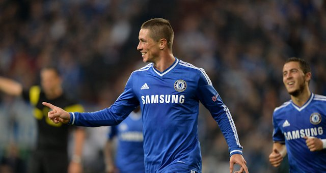 Chelsea's Fernando Torres celebrates after scoring his team's second goal